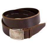 Remo Tulliani Distressed Leather Belt - Antique Nickel Plaque Buckle (For Men)