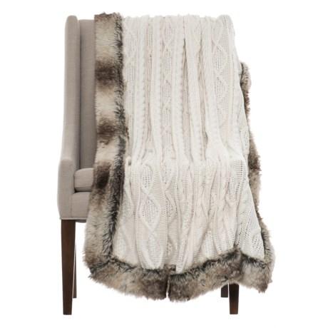 "Tahari Cable-Knit Throw Blanket - 50x60"", Faux-Fur Trim"