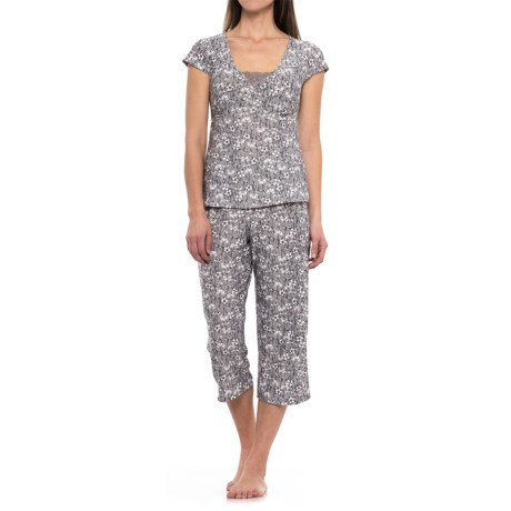Marilyn Monroe Lace Galloon Shirt and Capri Pajamas - Short Sleeve (For Women)
