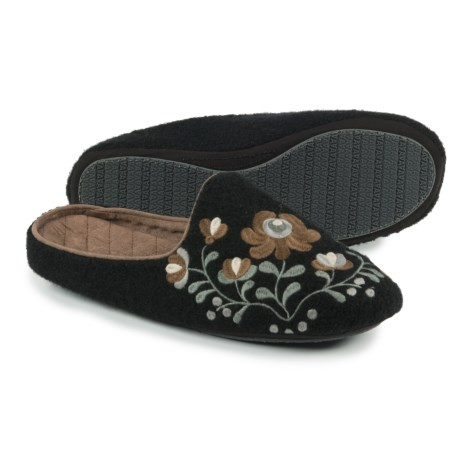 Acorn Flower Scuff Slippers - Wool (For Women)
