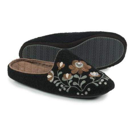 Acorn Flower Scuff Slippers - Wool (For Women)