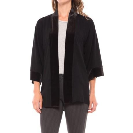 August Silk Lace-Back Cardigan Shirt - Velvet Trim, 3/4 Sleeve (For Women)