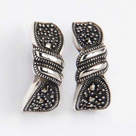 Prime Art Marcasite Hoop Earrings