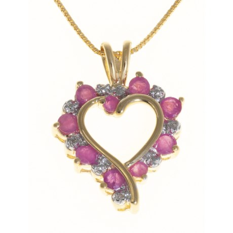 Prime Art Ruby Heart Pendant Necklace - Chain