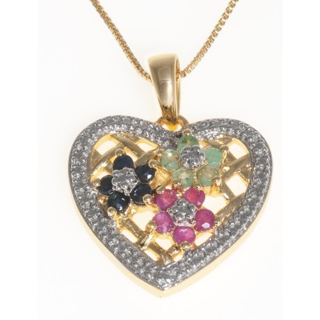 Prime Art Flower Heart Pendant Necklace - 18K Gold-Plated Sterling Silver