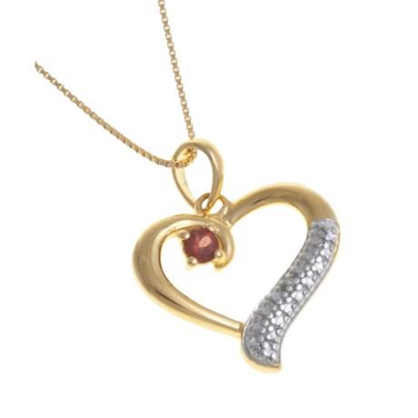 Prime Art Garnet Heart Pendant Necklace - 18K Gold Plating