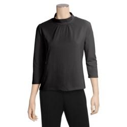 Avalin Pleated Mock Turtleneck - Stretch Cotton Jersey, 3/4 Sleeve (For Women)
