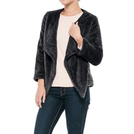 dylan Double Plush Cozy Cardigan Jacket - 3/4 Sleeve (For Women)