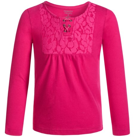 French Toast Lacy Peasant Top - Long Sleeve (For Little Girls)