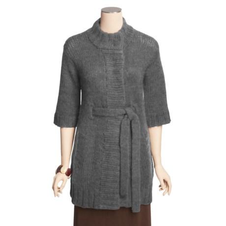 Avalin Chunky Long Cardigan Sweater - Mock Turtleneck, 3/4 Sleeve (For Women)