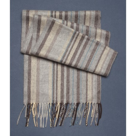 Johnstons of Elgin Tipped Block Stripe Scarf - Woven Cashmere (For Men and Women)