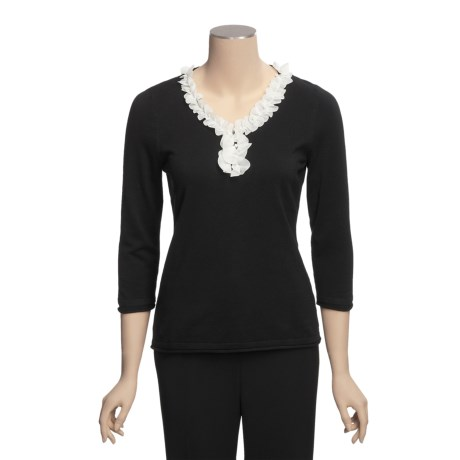 Madison Hill Ruffle Trim Sweater - Cotton, V-Neck (For Women)