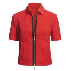 Madison Hill Jacquard Jacket - Zip Front, Short Sleeve (For Women)