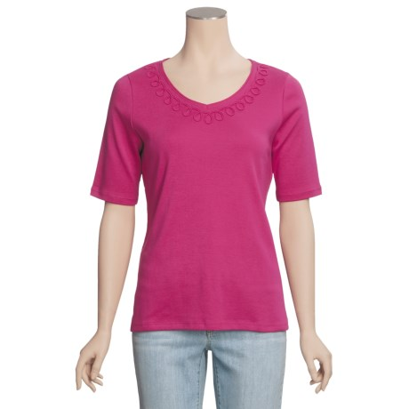 Madison Hill Pima Cotton Knit Shirt - V-Neck, Short Sleeve (For Women)