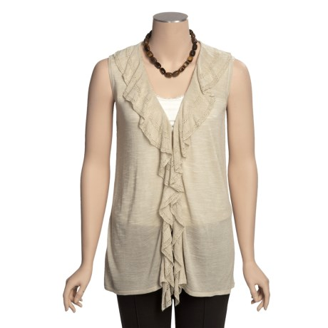 Madison Hill Sweater Vest - Ruffled Front (For Women)