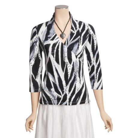 Madison Hill Cotton Print Knit Shirt - 3/4 Sleeve (For Women)