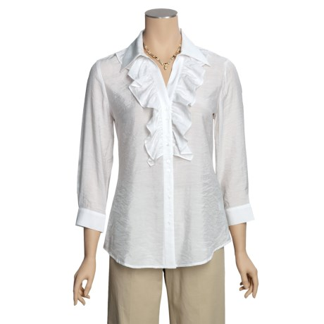 Madison Hill Cotton-Rich Ruffle Shirt - Silk-Look, 3/4 Sleeve (For Women)
