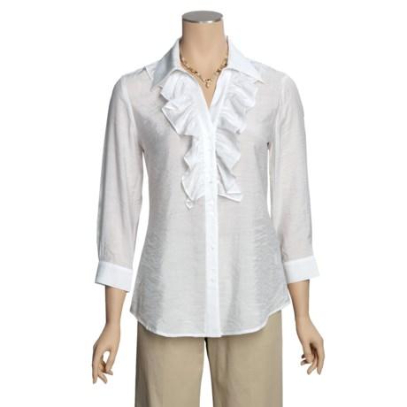 Madison Hill Cotton-Rich Ruffle Shirt - Silk-Look, 3/4 Sleeve (For Women)