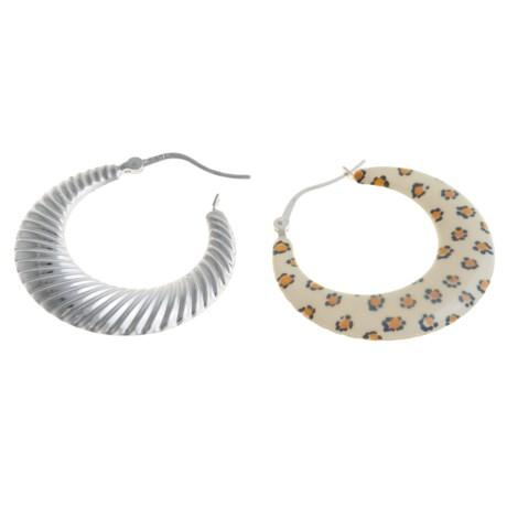Aluma USA Animal Print Hoop Earrings - Reversible, Sterling Silver