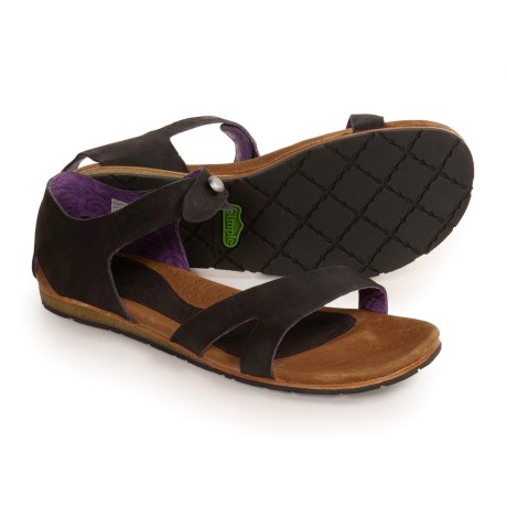 Simple Tangelo Leather Sandals (For Women)