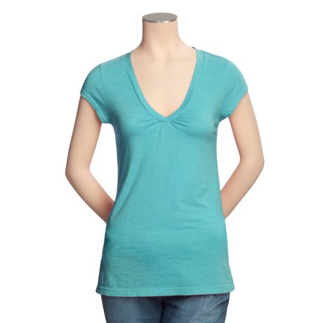 Lilla P Ruched V-Neck T-Shirt - Pima Cotton, Short Sleeve (For Women)