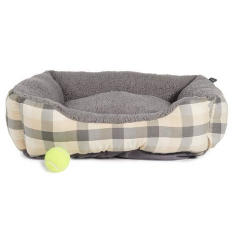 Woolrich Lincoln Buff Check Rectangle Dog Bed - 23x28""