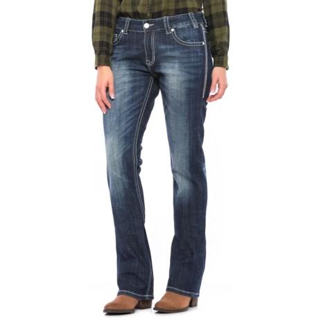 Rock & Roll Cowgirl Border Stitch Boyfriend Jeans - Bootcut (For Women)