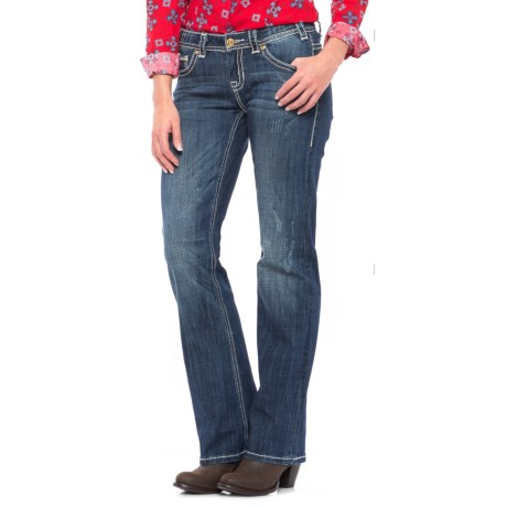Rock & Roll Cowgirl Leather and Embroidery Riding Jeans - Bootcut (For Women)
