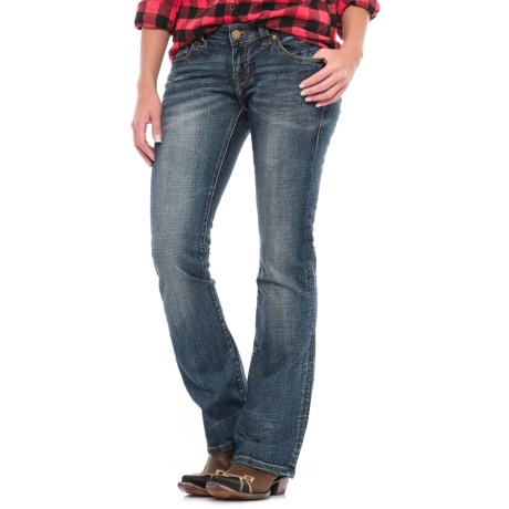 Rock & Roll Cowgirl Rival Antique Gold Trim Jeans - Low Rise, Bootcut (For Women)