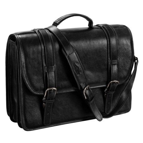 Aston Leather Triple-Compartment Briefcase - Removable Laptop Case