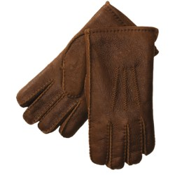 Aston Leather Top-Stitched Gloves - Shearling (For Men)