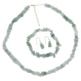 Gemstar Jade Chip Jewelry Set - Necklace, Bracelet and Earrings