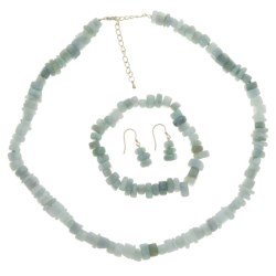 Gemstar Jade Chip Jewelry Set - Necklace, Bracelet and Earrings