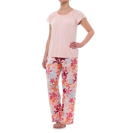 Oscar de la Renta Pink Oscar de la Renta Floral Pajamas - Short Sleeve (For Women)