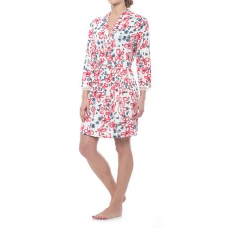 Oscar de la Renta Pink Oscar de la Renta Floral Robe - Long Sleeve (For Women)