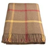 Moon Lambswool Throw Blanket - Large Windowpane, Fringe