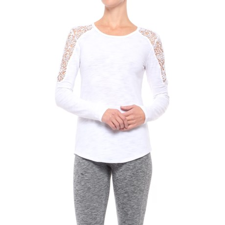 Earth Yoga Lace-Shoulder Shirt - Organic Cotton, Long Sleeve (For Women)