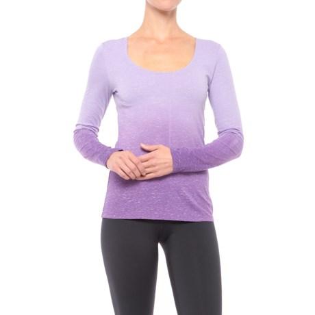 Earth Yoga Cross-Back Burnout Shirt - Organic Cotton, Long Sleeve (For Women)