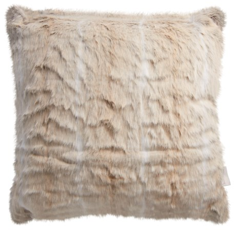 "Nicole Miller Striped Wolf Pillow - 20x20"", Faux Fur"