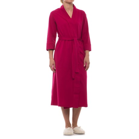 Jockey Cotton Knit Long Wrap Robe - 3/4 Sleeve (For Women)