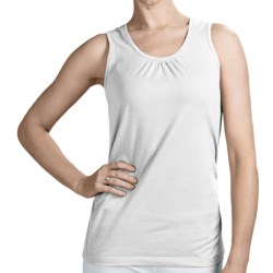 Neon Buddha Ruched Detail Tank Top - Stretch Cotton (For Women)