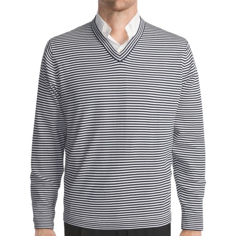 Toscano Horizontal Stripe Sweater - Cotton, V-Neck (For Men)