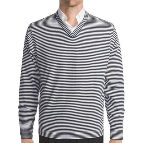 Toscano Horizontal Stripe Sweater - Cotton, V-Neck (For Men)