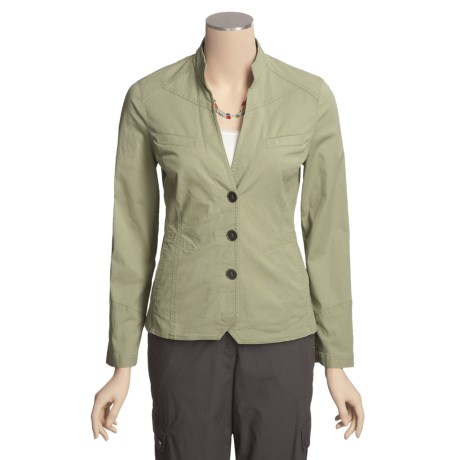 Linea Blu Stretch Cotton Jacket - Mandarin Collar (For Women)