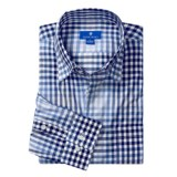 Toscano Cotton Check Sport Shirt -  Hidden Button-Down Collar, Long Sleeve (For Men)