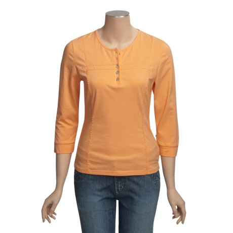 Linea Blu Round Neck Embroidered Shirt - Cotton, 3/4 Sleeve (For Women)
