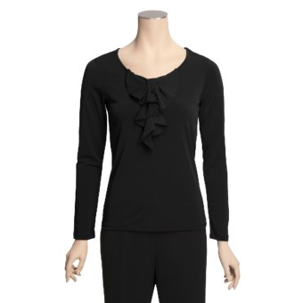 Bow-Front Stretch Shirt - Long Sleeve (For Women)
