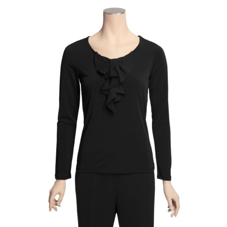 Specially made Bow-Front Stretch Shirt - Long Sleeve (For Women)