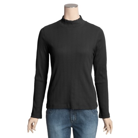 Ribbed Mock Turtleneck - Long Sleeve (For Women)