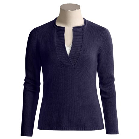 Kinross Featherweight Cashmere Sweater - Cashmere, Ribbed Trim (For Women)